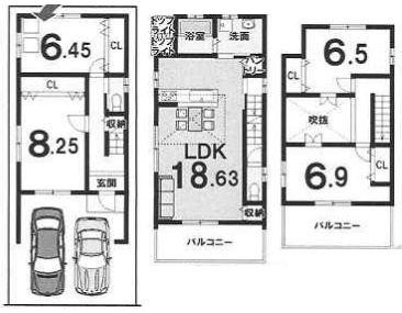 3Fプラン:建物2,099万円、建築面積113.56㎡(1F:38.65㎡、2F:44.17㎡、3F:30.74㎡)、4LDK、木造3階建、駐車場2台、建築確認申請費用70万別途要(税別)