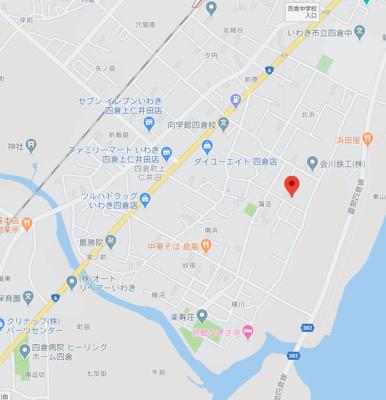 【地図】売土地 四倉町上仁井田字蒲沼