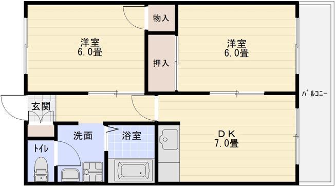 ビスタハイツ西村 河内国分駅 駅近 高井田駅 2DK