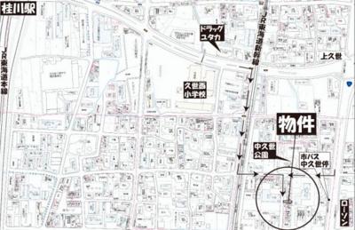 【地図】南区久世中久世町3丁目 建築条件無し売土地