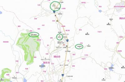 【地図】岡山市北区足守