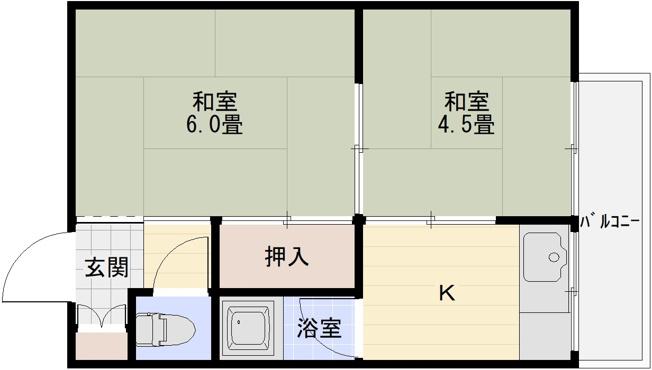 阪南ジャンボハイツ(柏原市石川町 道明寺駅) 2K
