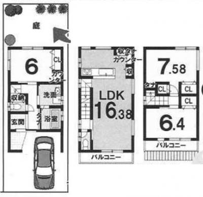 3FCプラン: 建物1,799万円 建築面積87.16㎡(1F:25.83㎡、2F:32.51㎡、3F:28.82㎡) 3LDK 木造3階建て 駐車場1台 建築確認申請費用70万円別途要(税別)