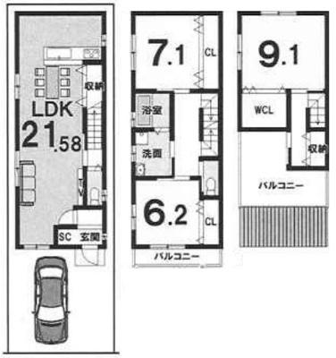 3FBプラン: 建物2,199万円 建築面積113.94㎡(1F:44.28㎡、2F:44.28㎡、3F:25.38㎡) 3LDK 木造3階建 駐車場1台 建築確認申請費用70万円別途要(税別)