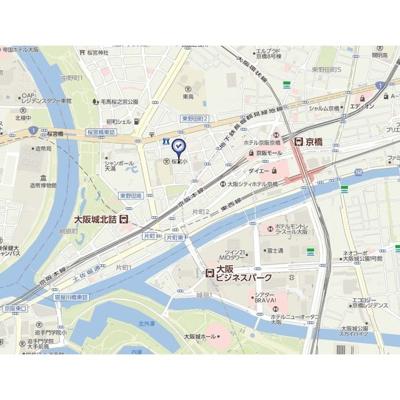 【地図】エスリード京橋グランツ