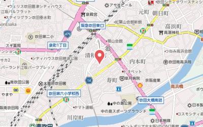 【地図】吹田市寿町1丁目戸建(A棟)