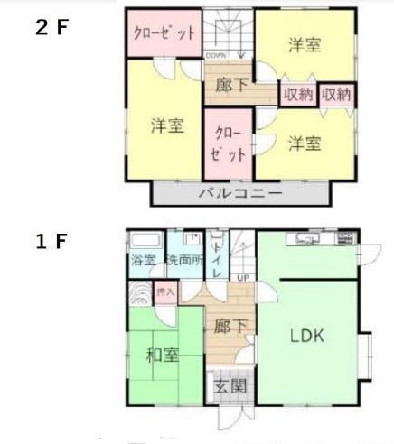 4LDK 玄関から和室に直接入れる間取りです。急な来客にも対応できます。