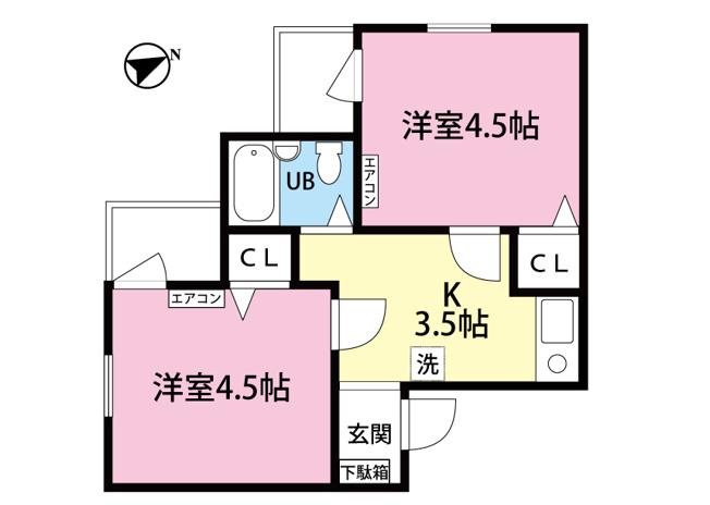 ルームシェアも可能な2Kタイプのお部屋です☆なんと言っても角部屋・二面採光なのが嬉しい♪全室洋室で過ごしやすいですね☆