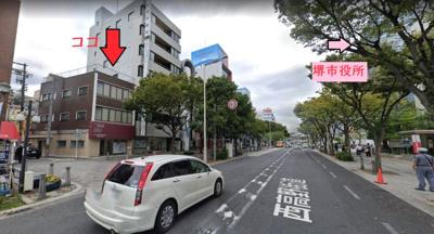 【周辺】堺東駅から6分!役所前バス通り 約78坪!1棟貸し(1-3F)