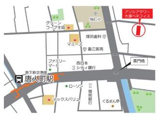 唐人町駅まで徒歩5分。駅からの帰り道は商業施設が多く、帰りに買い物に立ち寄るのに便利!