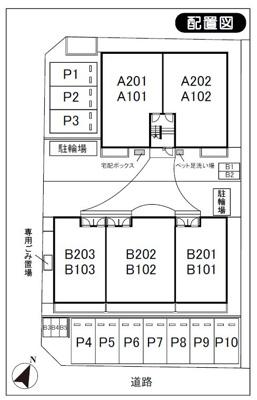 【区画図】カーサ千代ヶ丘A・B駐車場