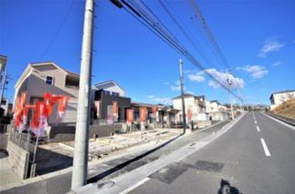 1号棟 現地(2020年2月)撮影 前面道路は南側幅員約12.0mの公道。