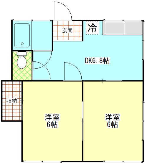 第二小国荘202 2DK 横須賀市平作3丁目