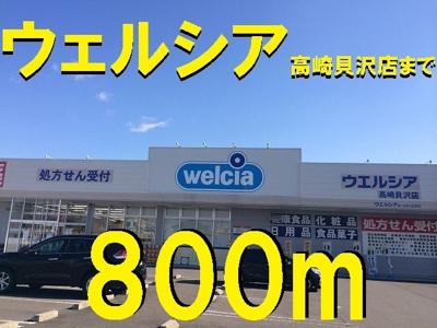 ウェルシア高崎貝沢店まで800m