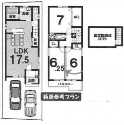 戸建プラン: 建物1,599万円、 建築面積87.88㎡(1F:44.14㎡、2F:43.47㎡)、 3LDK、木造2階建、駐車場2台、 建築確認申請費用60万円別途要(税別)