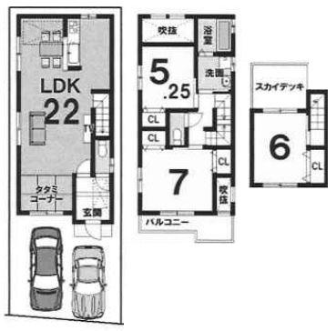 3階建プラン: 建物1,899万円、 建築面積100.06㎡(1F:43.34㎡、2F:38.9㎡、3F:17.82㎡)、 3LDK、木造3階建、駐車場2台、 建築確認申請費用70万円別途要(税別)