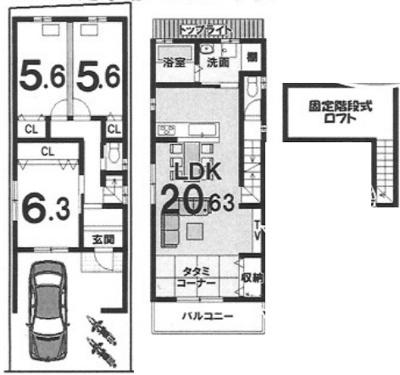 2Fリビングプラン: 建物1,699万円、 建築面積91.17㎡(1F:43.56㎡、2F:47.61㎡)、 木造2階建、3LDK、駐車場2台、 建築確認申請費用66万円別途要(税込)