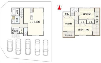 【新築プラン②】建物面積:93.74㎡/建物価格:1310万円※お好きな間取りに変更可能(自由設計)