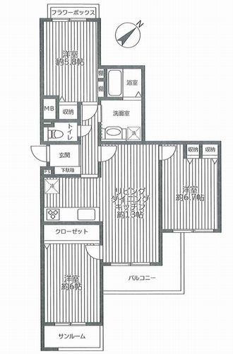 厚木市妻田東1丁目 本厚木リバーサイドマンション参番館 中古マンション