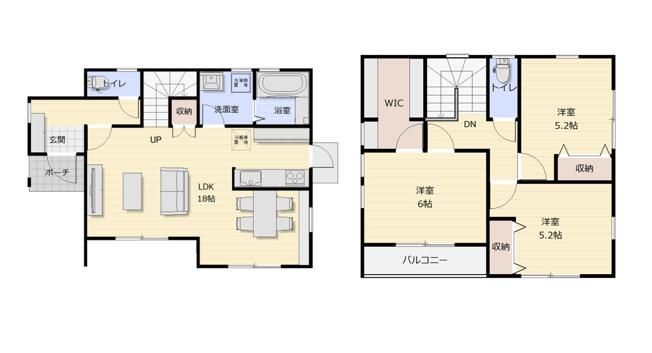 【土地図+建物プラン例】高知市石立町2号地