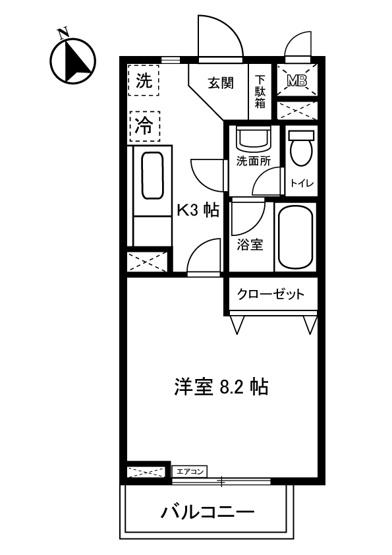 キッチン3帖・洋室8.2帖の1Kタイプのお部屋です☆はじめての一人暮らしにもぴったり♪なんと言っても角部屋なのが嬉しい♪
