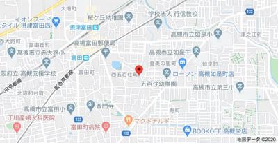 【地図】フローラハイツ高槻