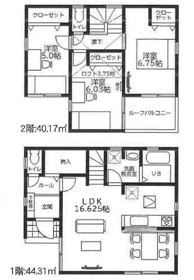 2号棟 4,030万円 土地面積107.70㎡ 建物面積84.48㎡