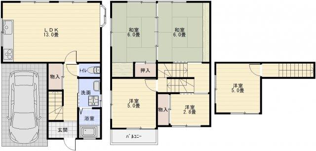 旭ケ丘3丁目4SLDK戸建(柏原市旭ケ丘) 4SLDK