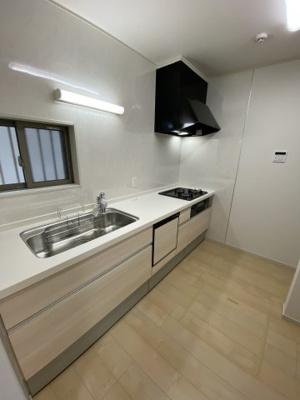 ビルトイン食器洗浄乾燥機・浄水器一体型シャワー水栓等を搭載した機能的なシステムキッチン