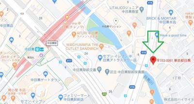 【地図】マートルコート中目黒