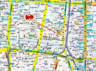 【地図】オレンジコート西心斎橋