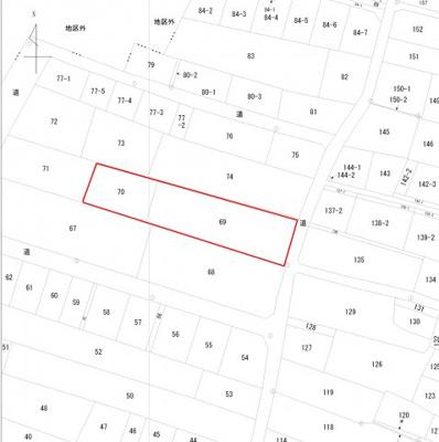 【地図】大根布1丁目土地