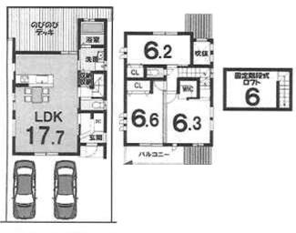 一括プラン: 建物1,899万円 建築面積102.87㎡(1F:58.32㎡、2F:44.55㎡) 3LDK、木造2階建、駐車場2台 建築確認申請費用60万円別途要(税別) ウッドデッキ費用別途要