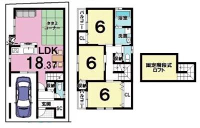 戸建プラン: 建物1,599万円 建築面積100.65㎡(1F:50.83㎡、2F:49.82㎡) 3LDK、木造2階建、駐車場1台 建築確認申請費用60万円別途要(税別)
