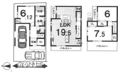 プランD: 建物1,599万円、 建築面積92.95㎡(1F:26.93㎡、2F:36.86㎡、3F:29.16㎡)、 木造3階建、3LDK、駐車場2台、 建築確認申請費用70万円別途要(税別)