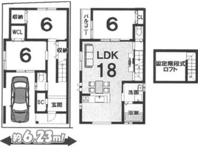 プランB: 建物1,699万円、 建築面積100.58㎡(1F:49.82㎡、2F:50.76㎡)、 木造2階建、3LDK、駐車場2台、 建築確認申請費用60万円別途要(税別)