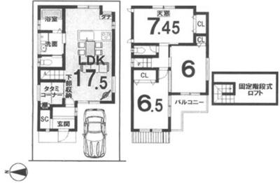 プランC: 建物1,299万円、 建築面積82.96㎡(1F:42.01㎡、2F:40.95㎡)、 3LDK、木造2階建、駐車場1台、 建築確認申請費用60万円別途要(税別)
