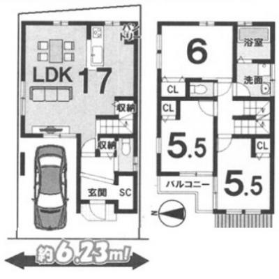 Cプラン: 建物2,500万円、 建築面積81.81㎡(1F:38.07㎡、2F:43.74㎡)、 木造2階建、3LDK、駐車場1台、 建築確認申請費用66万円・外構費110万円別途要(税込)