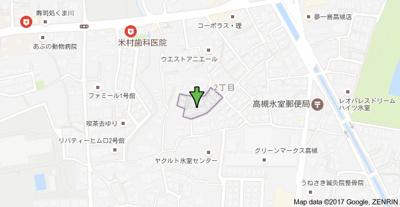 【地図】ファミール1号館 (株)Roots