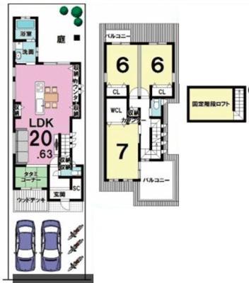 戸建プラン: 建物1,399万円、 建築面積96.98㎡(1F:51.65㎡、2F:45.33㎡)、 3LDK、木造2階建、駐車場2台、 建築確認申請費用60万円別途要(税別)