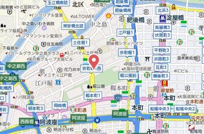 【地図】リーガル靭公園北