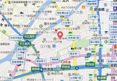 【地図】メビウス京町堀レジデンス