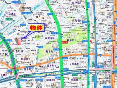 【地図】ルナコート江戸堀