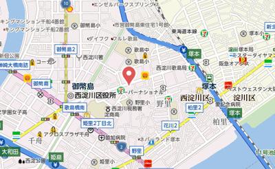 【地図】メルベーユ西淀