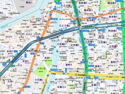 【地図】プレサンス立売堀パークシティ