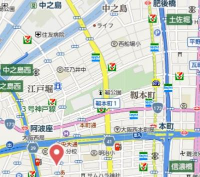 【地図】プレサンス立売堀アーバンスタイル