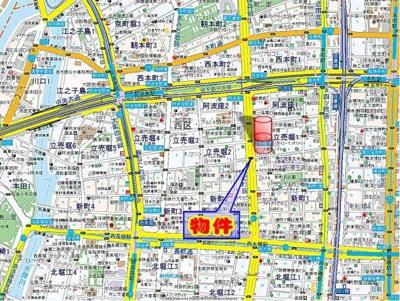 【地図】フィオレ立売堀