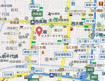 【地図】コンフォリア北堀江