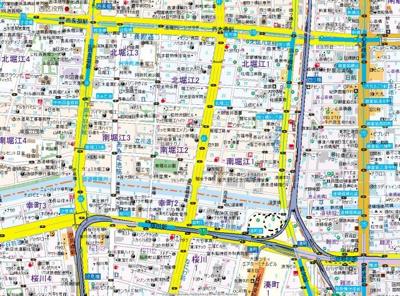 【地図】スワンズシティ南堀江ブルーム