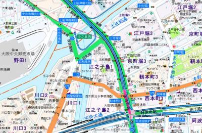 【地図】コンフォリア阿波座